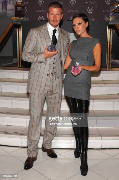 David Beckham and Victoria Beckham attend the launch of the Beckham Signature Fragrance Collection at Macy's Herald Square on September 26 2008 in...