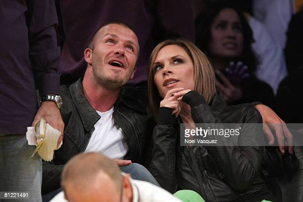 David Beckham and Victoria Beckham attend the Los Angeles Lakers vs San Antonio Spurs Western Conference Game 2 at Staples Center on May 23 2008 in...