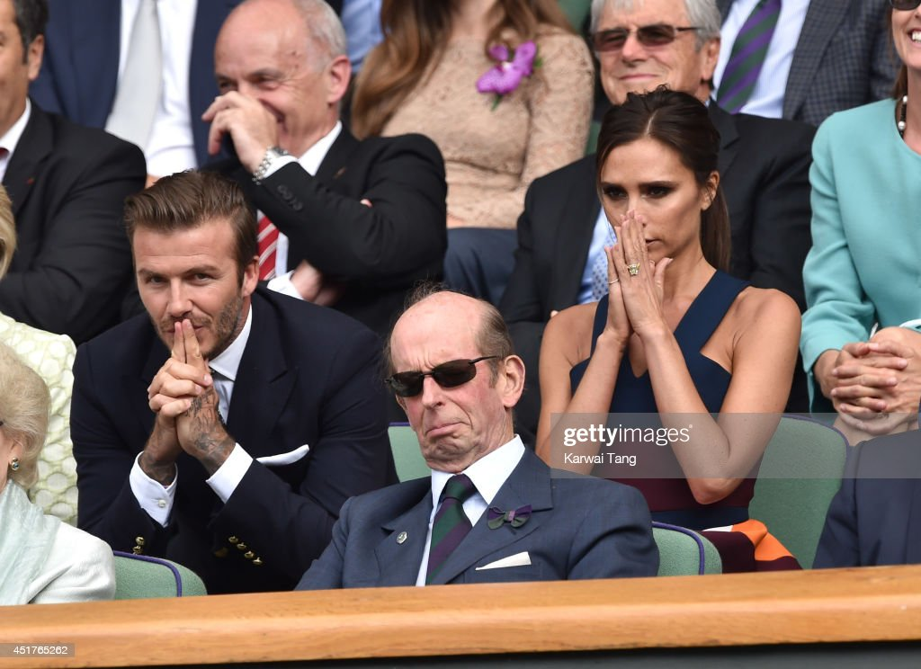 David Beckham and Victoria Beckham attend the mens singles final between Novak Djokovic and Roger Federer on centre court during day thirteen of the Wimbledon Championships at Wimbledon on July 6, 2014 in London, England.