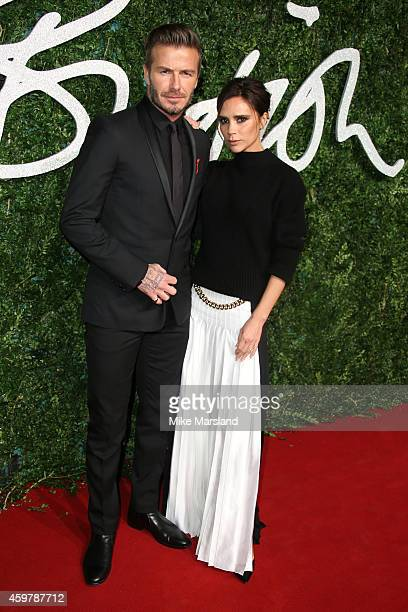 David Beckham and Victoria Beckham attends the British Fashion Awards at London Coliseum on December 1 2014 in London England