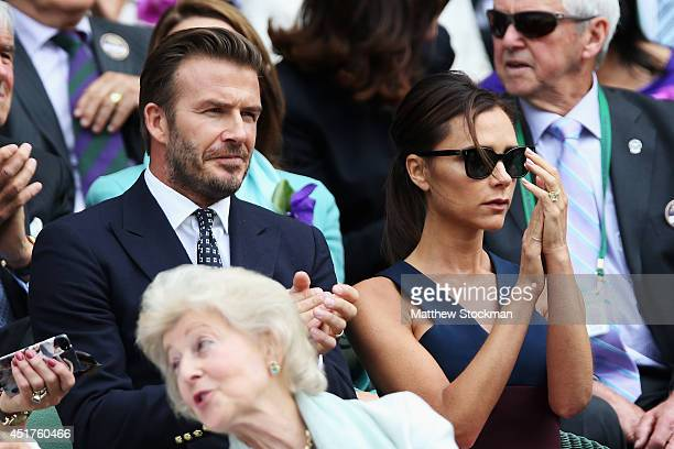 David Beckham and Victoria Beckham in the Royal Box on Centre Court before the Gentlemen's Singles Final match between Roger Federer of Switzerland...