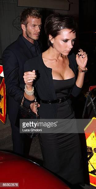 David Beckham and Victoria Beckham leaving 'Da Giacomo' restaurant on March 8 2009 in Milan Italy