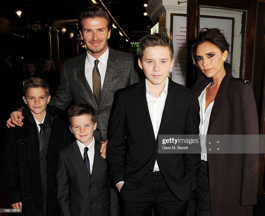 <a gi-track='captionPersonalityLinkClicked' href=/galleries/search?phrase=David+Beckham&family=editorial&specificpeople=158480 ng-click='$event.stopPropagation()'>David Beckham</a> (3L) and <a gi-track='captionPersonalityLinkClicked' href=/galleries/search?phrase=Victoria+Beckham&family=editorial&specificpeople=161100 ng-click='$event.stopPropagation()'>Victoria Beckham</a> (R) with children Romeo, Cruz and Brooklyn arrive at the Gala Press Night performance of 'Viva Forever' at the Piccadilly Theatre on December 11, 2012 in London, England.