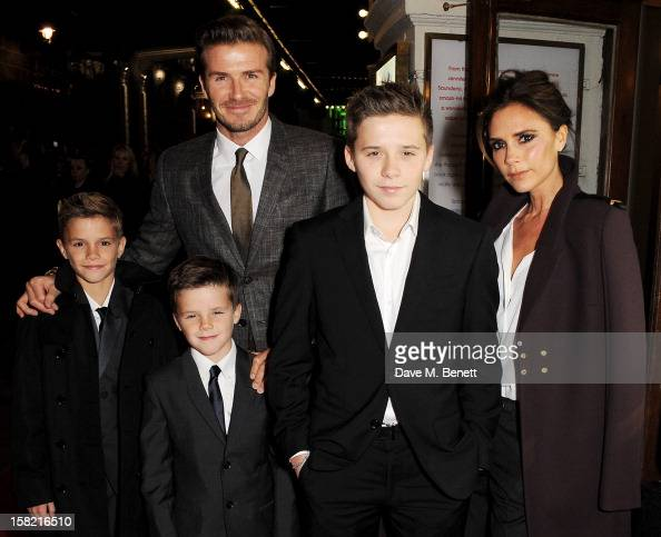 David Beckham and Victoria Beckham with children Romeo Cruz and Brooklyn arrive at the Gala Press Night performance of 'Viva Forever' at the...