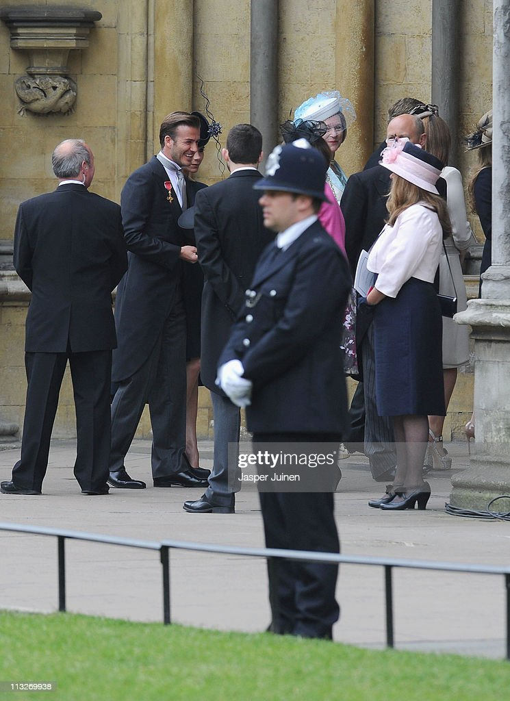 David Beckham and wife Victoria Beckham arrive to attend the Royal Wedding of Prince William to Catherine Middleton at Westminster Abbey on April 29, 2011 in London, England. The marriage of the second in line to the British throne is to be led by the Archbishop of Canterbury and will be attended by 1900 guests, including foreign Royal family members and heads of state. Thousands of well-wishers from around the world have also flocked to London to witness the spectacle and pageantry of the Royal Wedding.