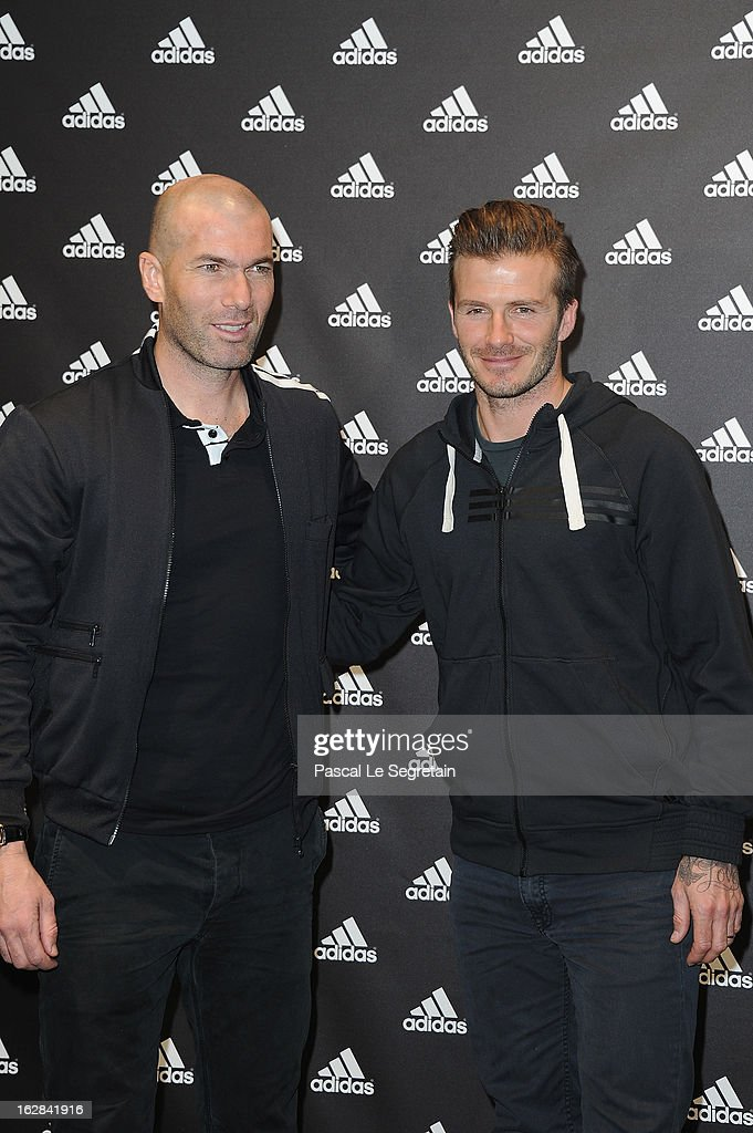 <a gi-track='captionPersonalityLinkClicked' href=/galleries/search?phrase=David+Beckham&family=editorial&specificpeople=158480 ng-click='$event.stopPropagation()'>David Beckham</a> (R) and <a gi-track='captionPersonalityLinkClicked' href=/galleries/search?phrase=Zinedine+Zidane&family=editorial&specificpeople=172012 ng-click='$event.stopPropagation()'>Zinedine Zidane</a> attend an autograph session at adidas Performance Store Champs-Elysees on February 28, 2013 in Paris, France.
