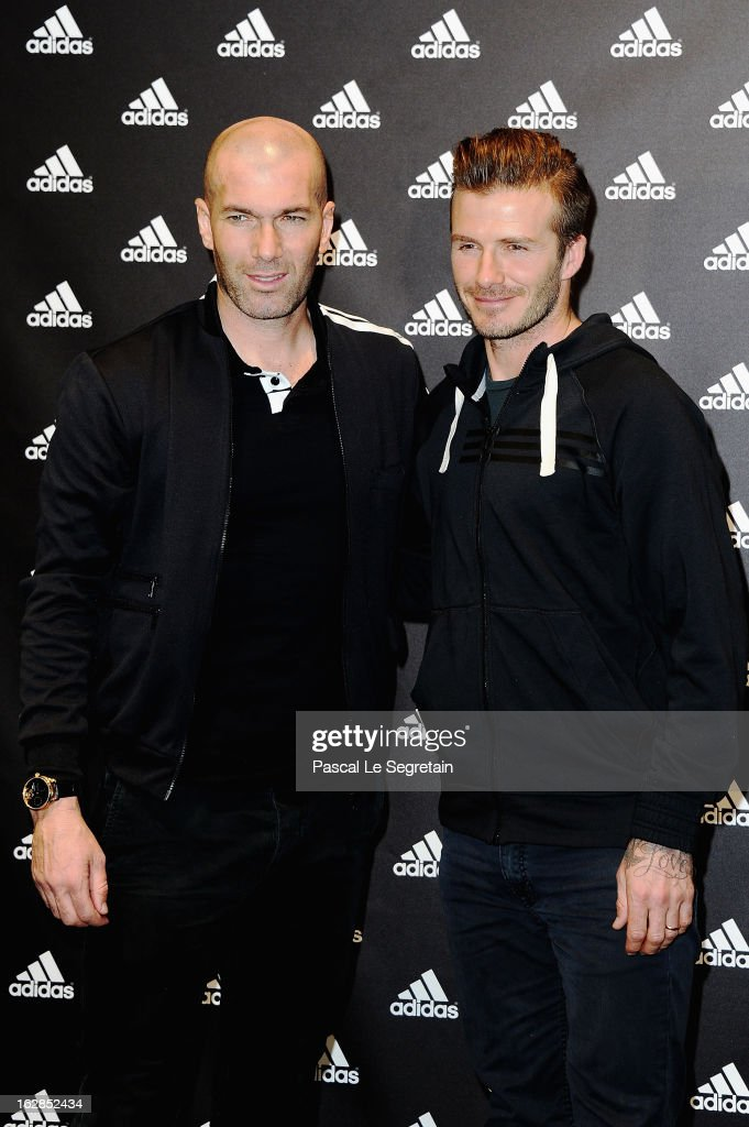 <a gi-track='captionPersonalityLinkClicked' href=/galleries/search?phrase=David+Beckham&family=editorial&specificpeople=158480 ng-click='$event.stopPropagation()'>David Beckham</a> and <a gi-track='captionPersonalityLinkClicked' href=/galleries/search?phrase=Zinedine+Zidane&family=editorial&specificpeople=172012 ng-click='$event.stopPropagation()'>Zinedine Zidane</a> attend an autograph session at adidas Performance Store Champs-Elysees on February 28, 2013 in Paris, France.