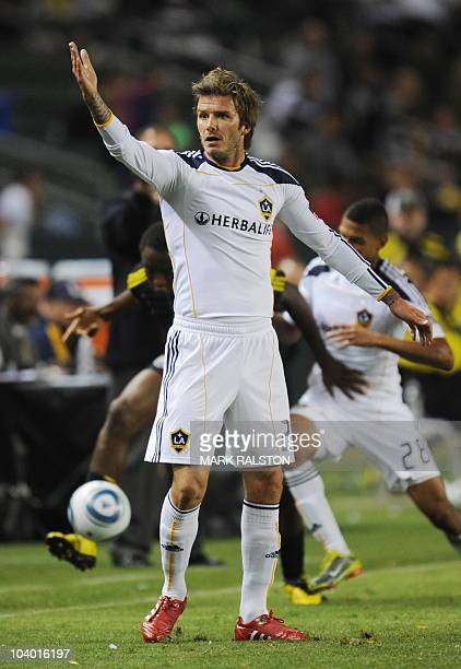 David Beckham appeals for a penalty upon his return to the LA Galaxy side from injury against the Columbus Crew at the Home Depot Stadium in Carson...
