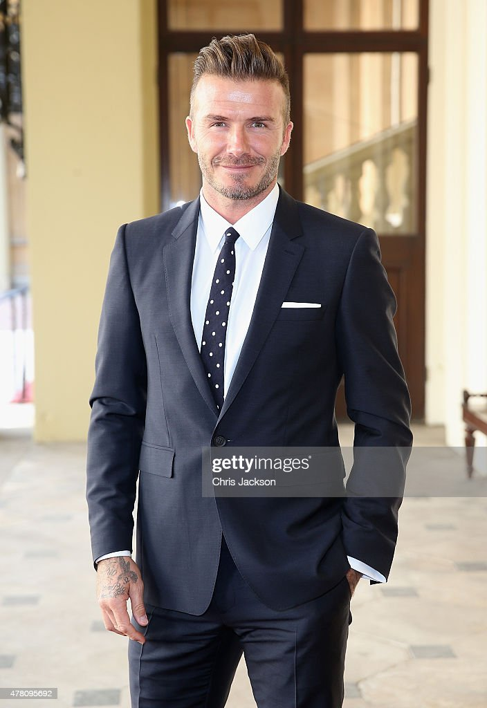 David Beckham arrives at Buckingham Palace for the Queen's Young Leaders Event on June 22, 2015 in London, England.