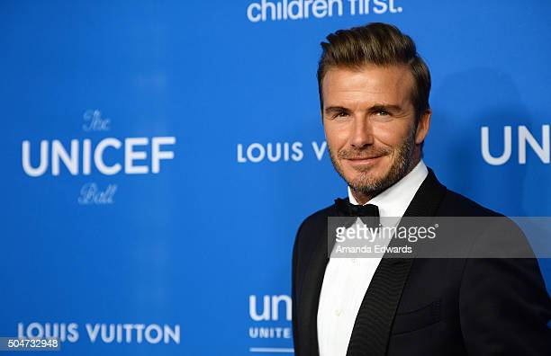 David Beckham arrives at the 6th Biennial UNICEF Ball at the Beverly Wilshire Four Seasons Hotel on January 12 2016 in Beverly Hills California