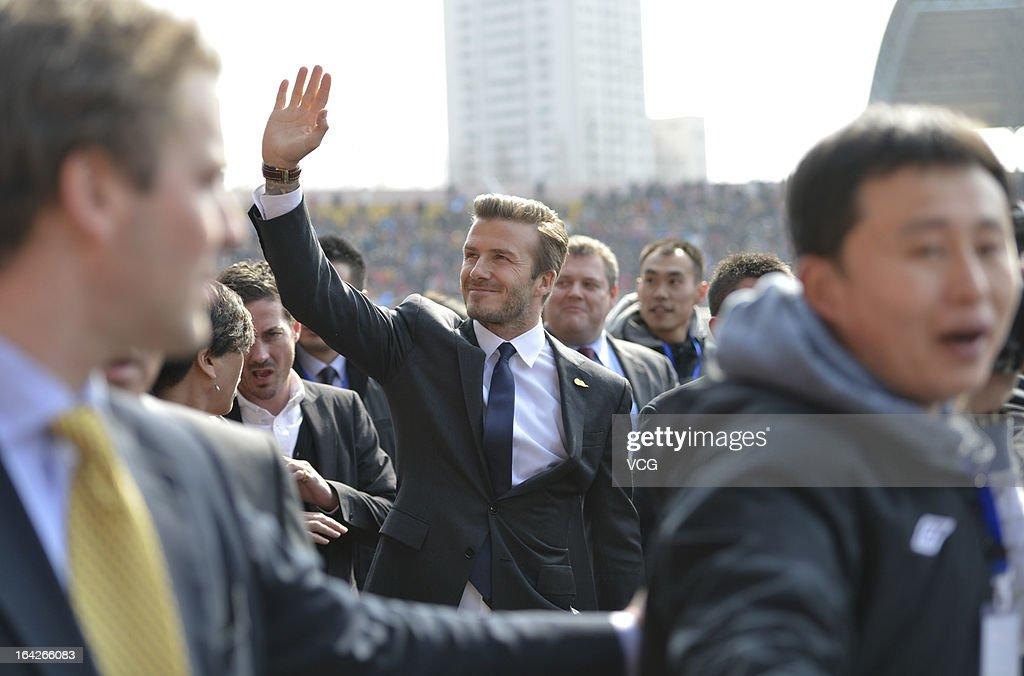 David Beckham arrives at Tiantai Stadium to visit Qingdao Jonoon Football Club on March 22, 2013 in Qingdao, Shandong Province of China.