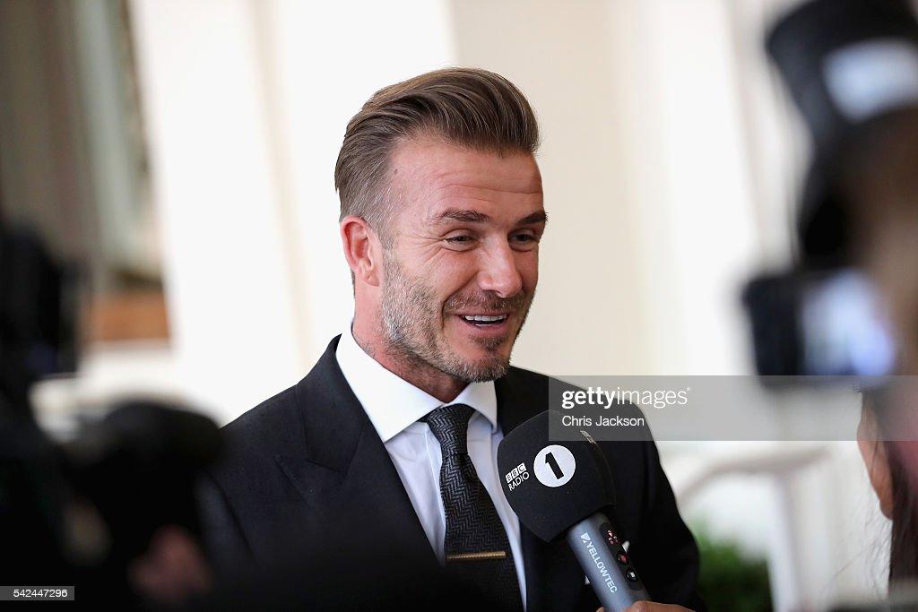 David Beckham arrives ...