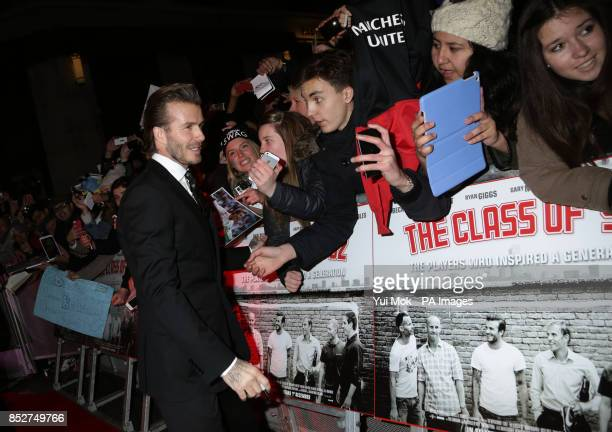 David Beckham arriving for the World premiere of documentary film The Class of 92 detailing the rise to prominence and sporting superstardom of six...