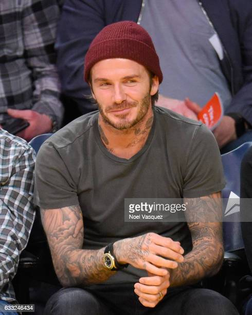 David Beckham attends a basketball game between the Denver Nuggets and the Los Angeles Lakers at Staples Center on January 31 2017 in Los Angeles...