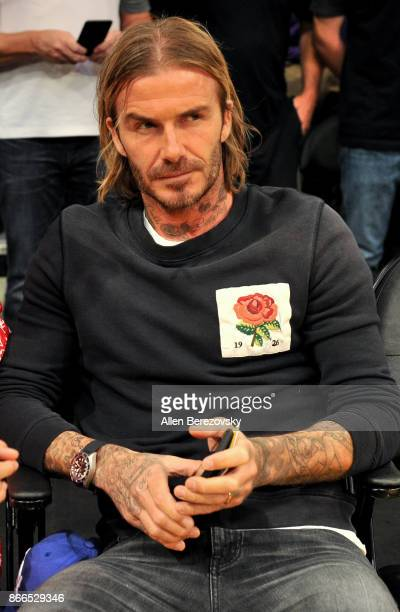 David Beckham attends a basketball game between the Los Angeles Lakers and the Washington Wizards at Staples Center on October 25 2017 in Los Angeles...