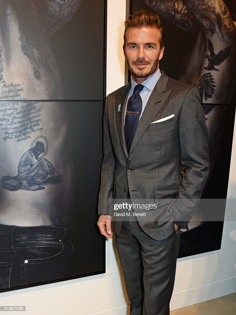 David Beckham attends a charity auction of 'David Beckham: The Man' hosted by Phillips at their European Headquarters and catered by Sexy Fish on March 10, 2016 in London, England. The auction is in support of '7: The David Beckham UNICEF Fund' and UK charity 'Positive View Foundation'.