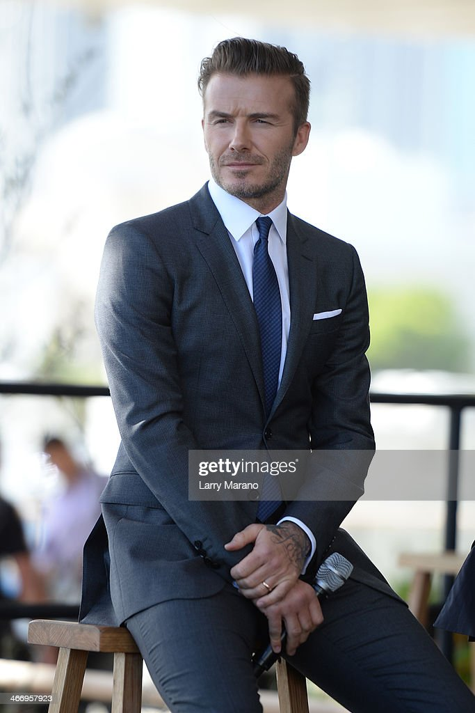David Beckham attends a press conference to announce plans to launch a new Major League Soccer franchise at PAMM Art Museum on February 5, 2014 in Miami, Florida.