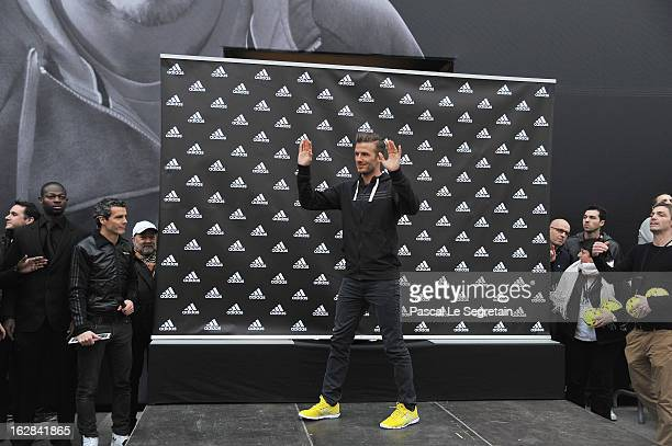 David Beckham attends an autograph session at adidas Performance Store ChampsElysees on February 28 2013 in Paris France