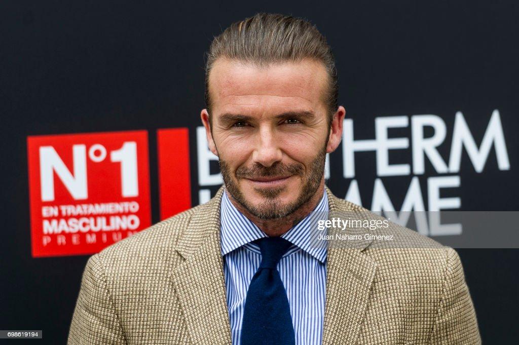 David Beckham attends Biotherm Homme presentation at Casa de Velazquez on June 20, 2017 in Madrid, Spain.