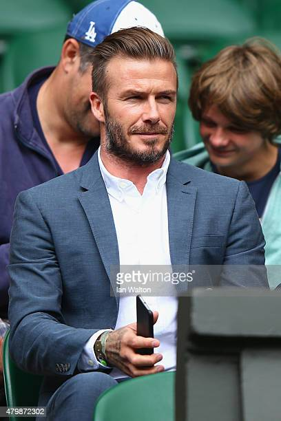 David Beckham attends day nine of the Wimbledon Lawn Tennis Championships at the All England Lawn Tennis and Croquet Club on July 8 2015 in London...
