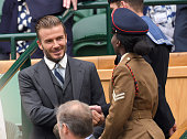 David Beckham attends day six of the Wimbledon Tennis Championships at Wimbledon on July 02 2016 in London England