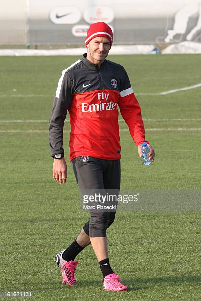 David Beckham attends his first practice session with Paris Saint Germain at Camp des Loges on February 13 2013 in Paris France