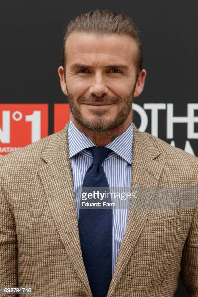 David Beckham attends the 'Biotherm Homme' photocall at Casa de Velazquez on June 20 2017 in Madrid Spain