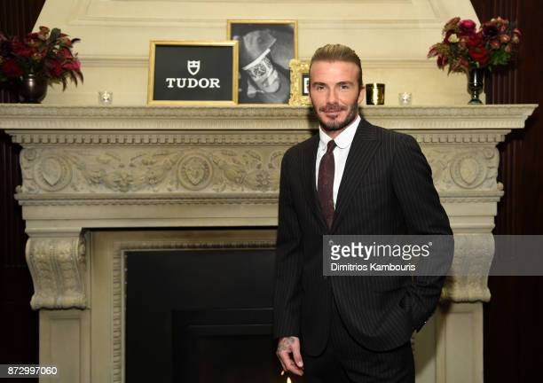 David Beckham attends the celebration of his new ambassadorship for Swiss Watch Brand TUDOR at The Clocktower in New York City on November 9 2017 in...