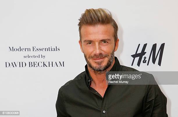 David Beckham attends the launch of David Beckham's HM Modern Essentials Collection on September 26 2016 in HM at FIGat7th in Los Angeles California