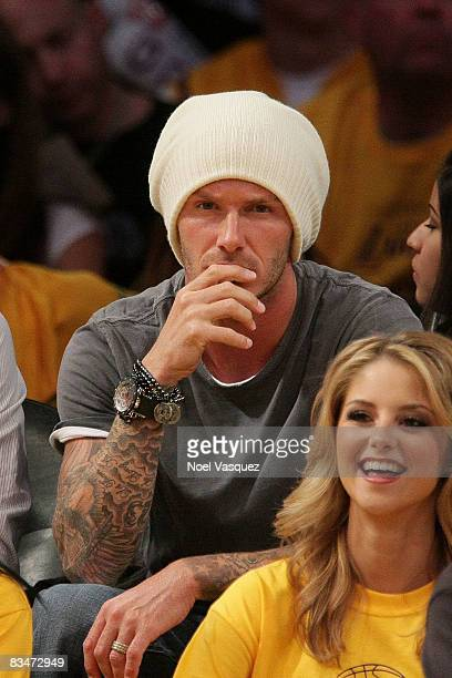 David Beckham attends the Los Angeles Lakers vs Portland Trail Blazers game at the Staples Center on October 28 2008 in Los Angeles California
