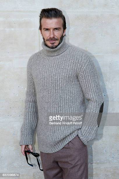 David Beckham attends the Louis Vuitton Menswear Fall/Winter 20172018 show as part of Paris Fashion Week Held at Palais Royal on January 19 2017 in...