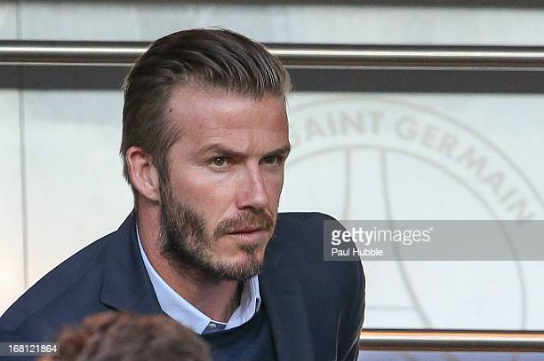David Beckham attends the match between Paris Saint Germain FC and Valenciennes FC at Parc des Princes on May 5 2013 in Paris France