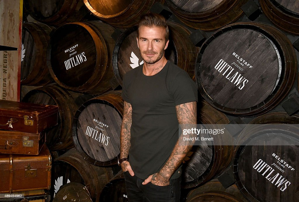 David Beckham attends the premiere for Belstaff FilmsÕ Outlaws' during London Fashion Week at La Bodega Negra on September 21, 2015 in London, England.