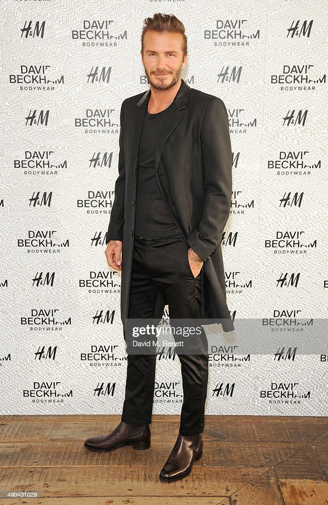 David Beckham attends the private launch of David Beckham For H&M Swimwear at Shoreditch House on May 14, 2014 in London, England.