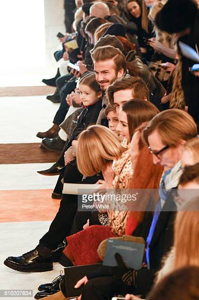 David Beckham attends the Victoria Beckham show Fall 2016 during New York Fashion Week at The Cunard Building on February 14 2016 in New York City