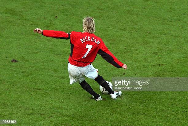 David Beckham during the FA Barclaycard Premiership match between Manchester United v Manchester City at Old Trafford on February 9 2003 in...