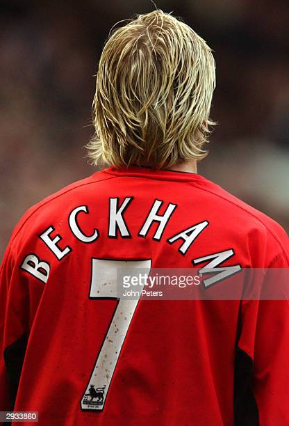 David Beckham during the FA Barclaycard Premiership match between Manchester United v Sunderland at Old Trafford on January 1 2003 in Manchester...