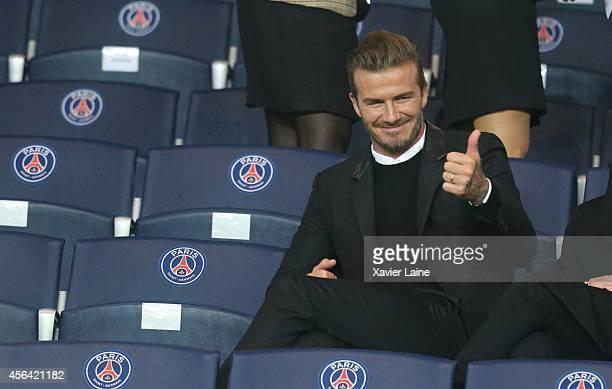 David Beckham during the UEFA Champions League between Paris SaintGermain FC and FC Barcelona at Parc Des Princes on September 30 2014 in Paris France