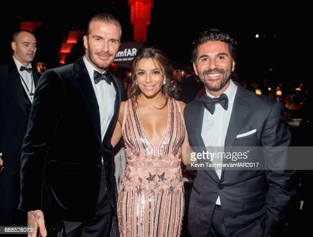 David Beckham Eva Longoria and Jose 'Pepe' Antonio Baston attend the amfAR Gala Cannes 2017 at Hotel du CapEdenRoc on May 25 2017 in Cap d'Antibes...