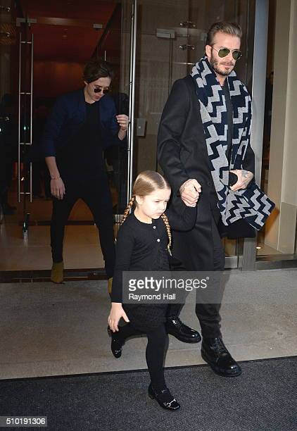 David Beckham Harper Beckham and Brooklyn Beckham are seen walking in Soho on February 14 2016 in New York City