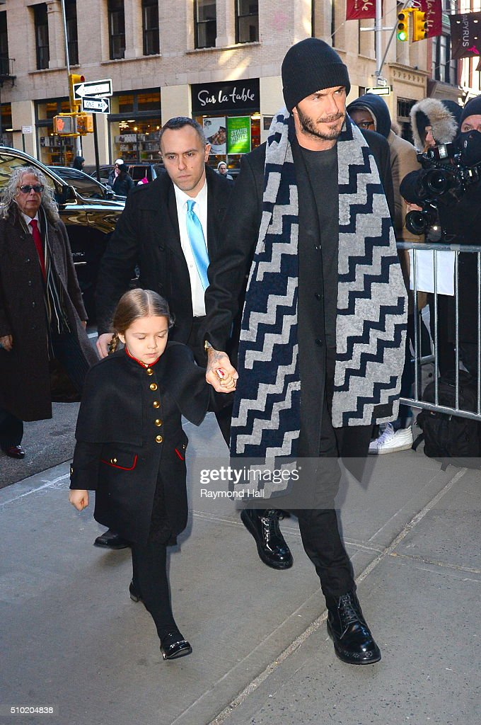 <a gi-track='captionPersonalityLinkClicked' href=/galleries/search?phrase=David+Beckham&family=editorial&specificpeople=158480 ng-click='$event.stopPropagation()'>David Beckham</a>, <a gi-track='captionPersonalityLinkClicked' href=/galleries/search?phrase=Harper+Beckham&family=editorial&specificpeople=8262359 ng-click='$event.stopPropagation()'>Harper Beckham</a> are seen arriving at 'Balthazar Restaurant in Soho'on February 14, 2016 in New York City.