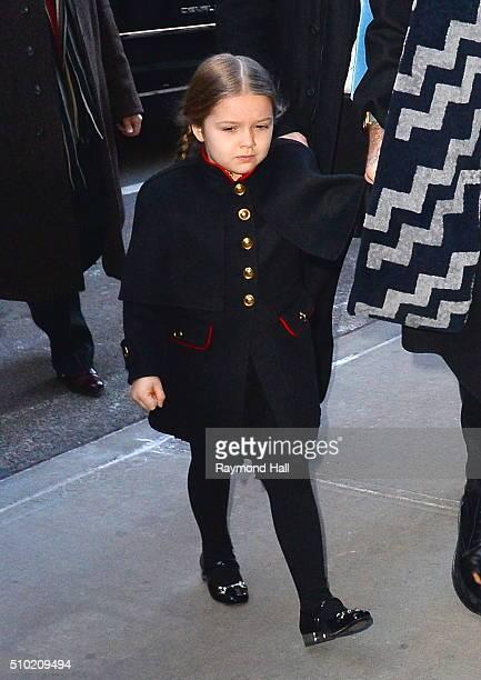 David Beckham Harper Beckham are seen arriving at 'Balthazar Restaurant in Soho'on February 14 2016 in New York City