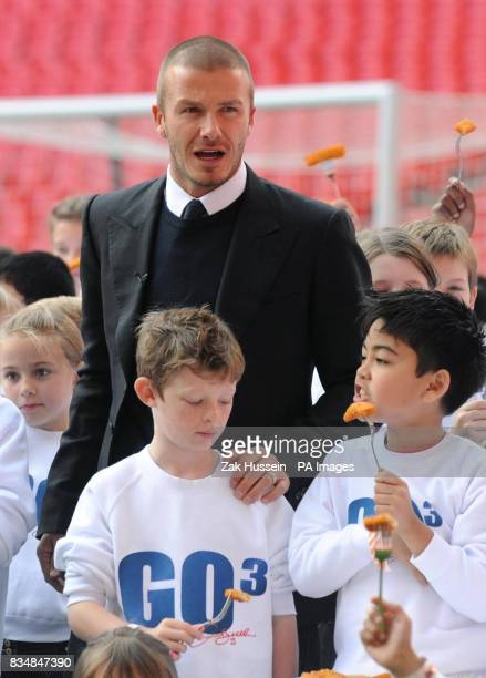 David Beckham hosts a fish finger feast for school children on the pith of Wembley Stadium to celebrate the launch of the new GO3 range of favourite...