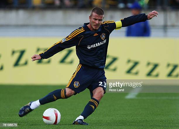 David Beckham in action during the friendly match between Wellington Phoenix FC and the LA Galaxy held at Westpac Stadium on December 1 2007 in...
