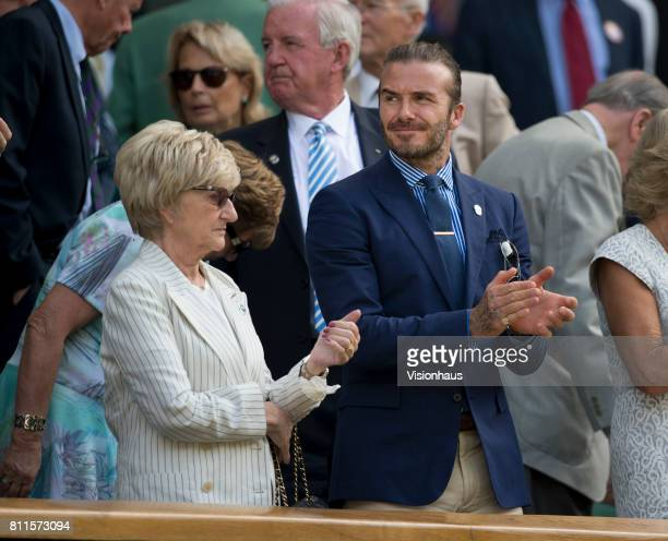 David Beckham in the royal box with his mother on day five of the Wimbledon Lawn Tennis Championships at the All England Lawn Tennis and Croquet Club...