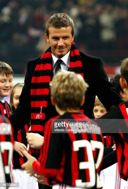 David Beckham is introduced to the fans before the Serie A match between AC Milan and Udinese Calcio at San Siro Stadium on December 21 2008 in Milan...