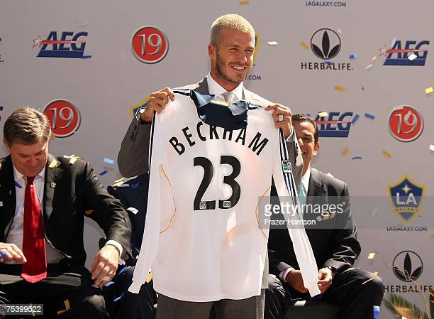 David Beckham is officialy announced as a LA Galaxy Player at the Home depot Stadium on July 13 2007 in Carson California