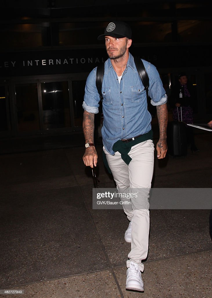 David Beckham is seen at LAX on August 01 2015 in Los Angeles California