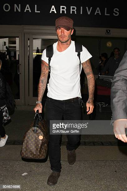 David Beckham is seen at LAX on January 11 2016 in Los Angeles California