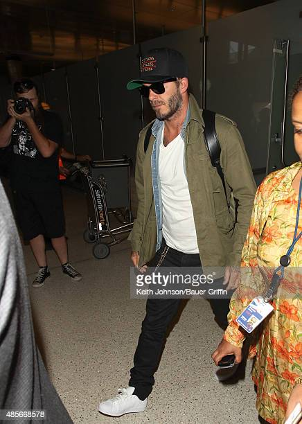 David Beckham is seen at Los Angeles International Airport on August 28 2015 in Los Angeles California